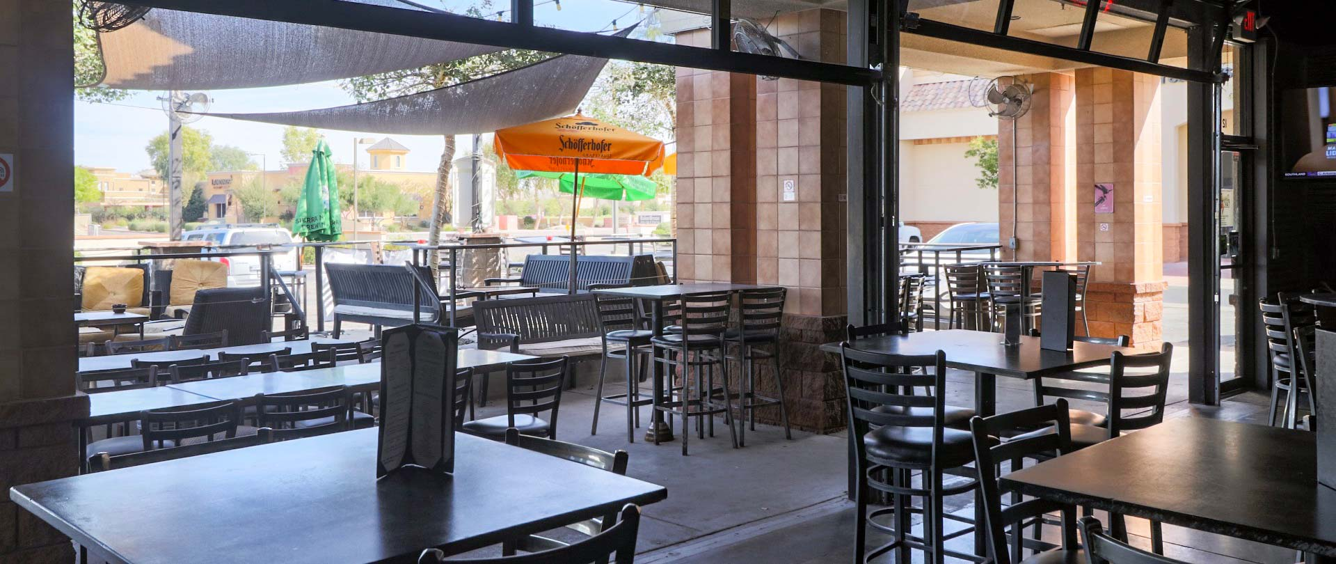 Patio seating at Dirty Blonde Tavern