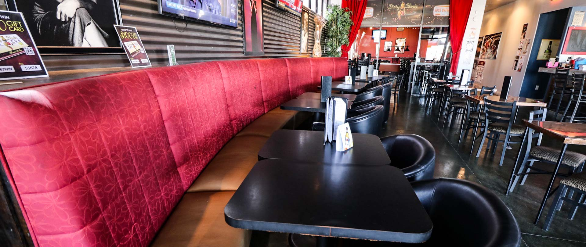 Long booth seating at Dirty Blonde Tavern