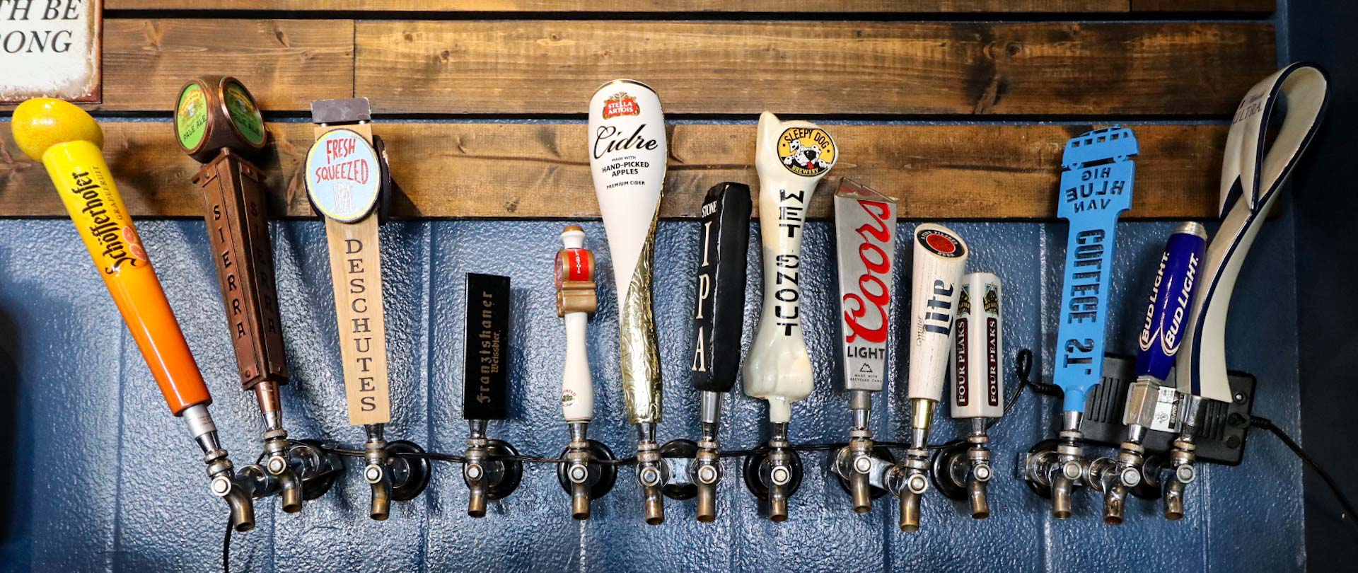 14 beer taps at Dirty Blonde Tavern